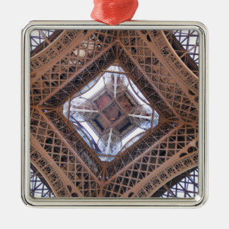 Abstract view of Eiffel Tower Silver-Colored Square Decoration