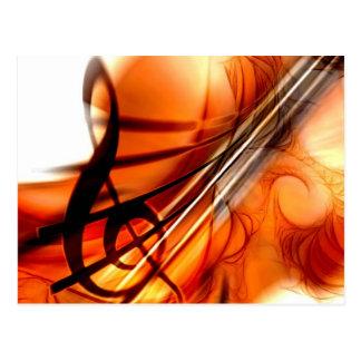 Abstract Violin Art Post Cards