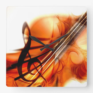 Abstract Violin Art Square Wall Clock