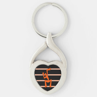 Abstract Wacky Dancer Silver-Colored Twisted Heart Key Ring