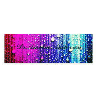 Abstract wall painting pink turqouise raindrops pack of skinny business cards