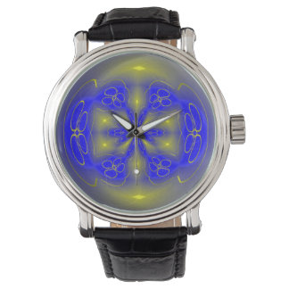 Abstract Watch in Blue and Gold