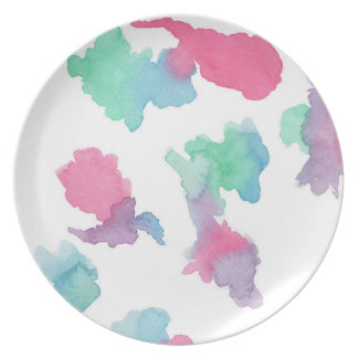 Abstract Water Colour in Thistle Party Plates