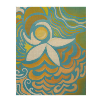 Abstract Water Lily (11X14) Wood Print