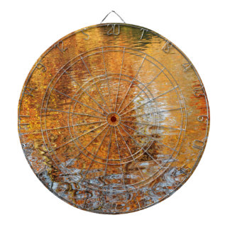 Abstract water reflections in autumn dartboard