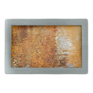 Abstract water reflections in autumn rectangular belt buckle