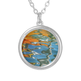 Abstract water reflections in Venice Silver Plated Necklace