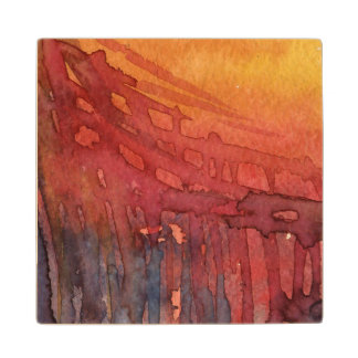 Abstract watercolor 3 wood coaster
