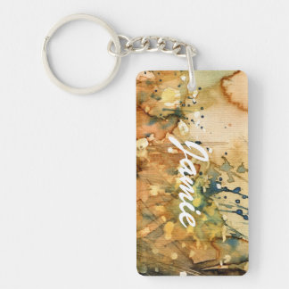 Abstract watercolor and old background Double-Sided rectangular acrylic key ring