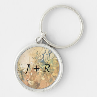 Abstract watercolor and old background Silver-Colored round key ring