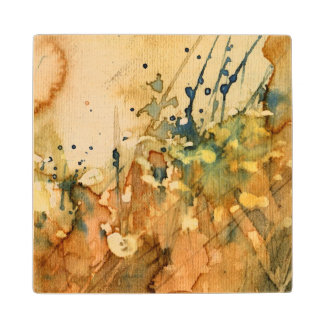 Abstract watercolor and old background wood coaster