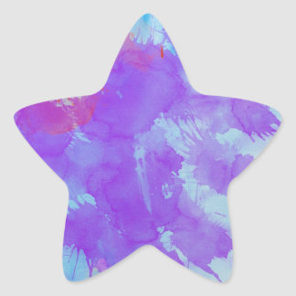 Abstract Watercolor Art Violet, Blue,Red, Yellow Star Sticker