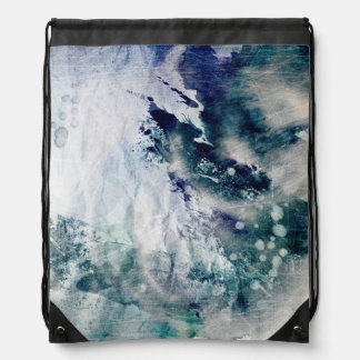 Abstract watercolor background on grunge paper 2 drawstring bag