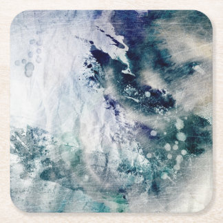 Abstract watercolor background on grunge paper 2 square paper coaster