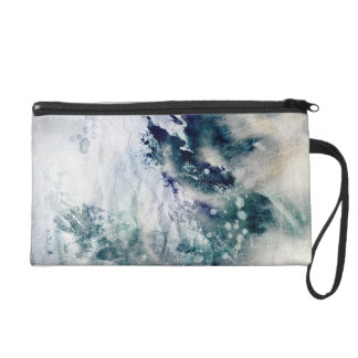 Abstract watercolor background on grunge paper 2 wristlet purse