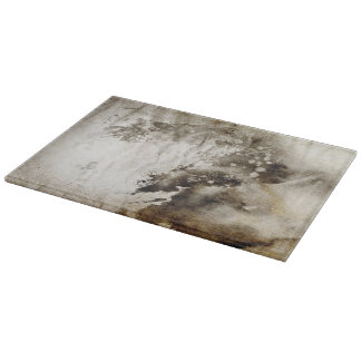 Abstract watercolor background on grunge paper cutting board