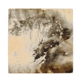 Abstract watercolor background on grunge paper maple wood coaster