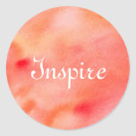Abstract Watercolor Background - Orange Round Sticker