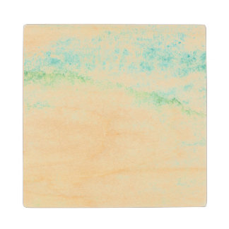 Abstract  watercolor background wood coaster