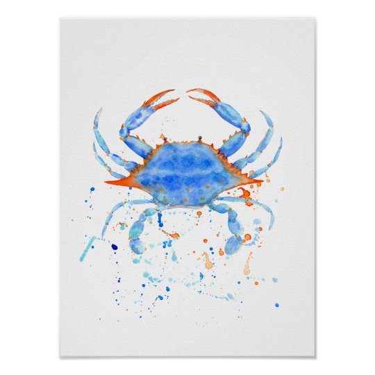 Abstract watercolor blue crab Print