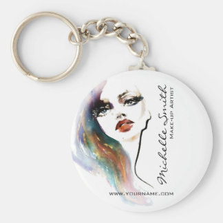 Abstract Watercolor colorful woman makeup branding Basic Round Button Key Ring