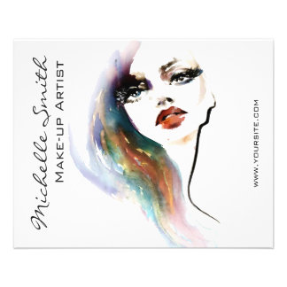 Abstract Watercolor colorful woman makeup branding Flyer