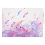 Abstract Watercolor Feathers Pink Blue Splatters