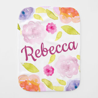 Abstract Watercolor Floral Flower Personalize Name Burp Cloth