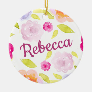 Abstract Watercolor Floral Flower Personalize Name Christmas Ornament