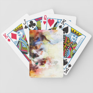 Abstract watercolor grunge texture with paint bicycle playing cards