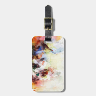 Abstract watercolor grunge texture with paint luggage tag