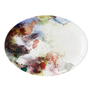 Abstract watercolor grunge texture with paint porcelain serving platter