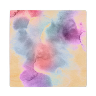 Abstract watercolor hand painted background 10 wood coaster