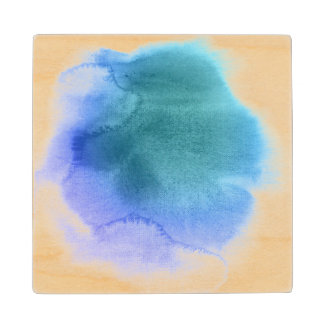 Abstract watercolor hand painted background 12 wood coaster