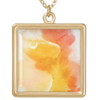Abstract watercolor hand painted background 13 square pendant necklace