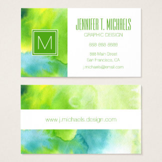 Abstract watercolor hand painted background 16 business card