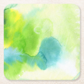 Abstract watercolor hand painted background 16 square paper coaster