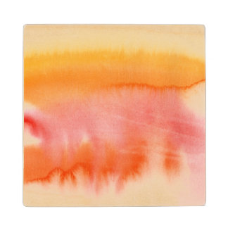 Abstract watercolor hand painted background 17 wood coaster