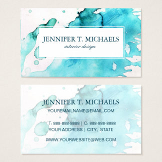 Abstract watercolor hand painted background 2 3 business card