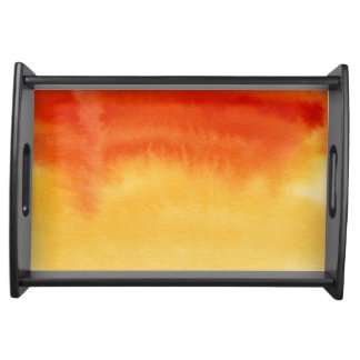Abstract watercolor hand painted background. 2 serving tray