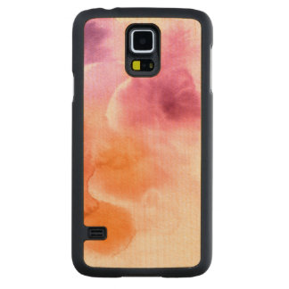 Abstract watercolor hand painted background 3 carved maple galaxy s5 case