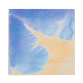 Abstract watercolor hand painted background 4 maple wood coaster