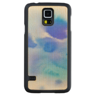 Abstract watercolor hand painted background. carved maple galaxy s5 case