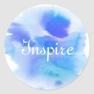 Abstract watercolor hand painted background. classic round sticker