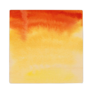 Abstract watercolor hand painted background. maple wood coaster