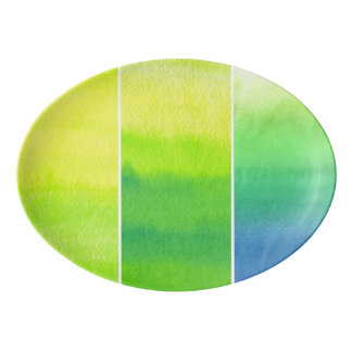 Abstract watercolor hand painted backgrounds set porcelain serving platter