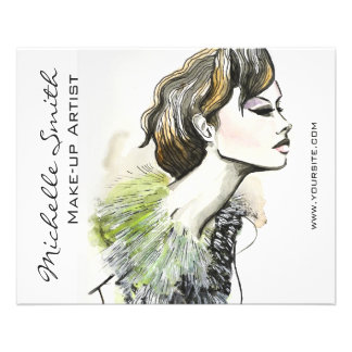 Abstract Watercolor ink colorful woman makeup 11.5 Cm X 14 Cm Flyer
