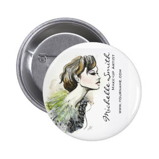 Abstract Watercolor ink colorful woman makeup 6 Cm Round Badge