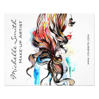 Abstract Watercolor ink colorful woman makeup Flyer