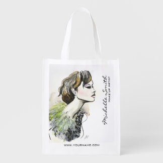 Abstract Watercolor ink colorful woman makeup Reusable Grocery Bag